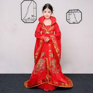 Enfants chinois antique Costume Tang Dynastie Reine Tailing Costume Guzheng Vêtemens filles Hanfu Photographie chinoise