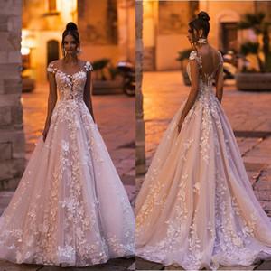 2020 Урожай полный шнурок линия Свадебные платья рукава Cap Пляж Покрытые Кнопки Свадебные платья 3D аппликация Цветочные свадебное платье