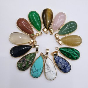 Wholesale 10pcs lot 2020 high quality mixed natural stones gold side Water drop shape pendants for jewelry making free shipping