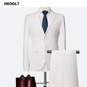 Primavera Autunno coreano uomini adatta il vestito casuale Affari Blazers due pezzi Bianco Nero Boutique Rosso Wedding Suits 5XL 6XL