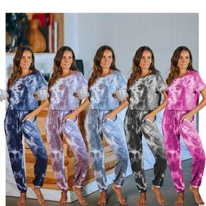 Short Sleeve Tie Dye Jumpsuit Women girls Summer Drawstring Pockets Rompers Casual Tracksuit Home Clothinng LJJA4089