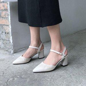 Goddess2019 высокая женщина Ся Чжэньпи одна пряжка принести женские острые грубые с обувью Баотоу Рим сандалии