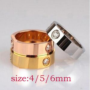 Titânio aço inoxidável Amor Anéis para as Mulheres Homens jóias Casais Cubic Zirconia anéis de casamento Logo Bague Femme quatro milímetros / 5 mm / 6mm