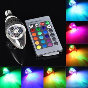 새로운 RGB 주도 촛불 조명 E12 E14 3W LED 전구 조명 16 개 색상 변경 + 24keys IR 리모트 컨트롤러