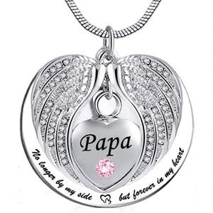 Papa Angel Wing Urn Kolye Külleri için, kalp Kremasyon Anıt Keepsake Kolye Kolye Takı Doldurun Kiti ve Hediye ile
