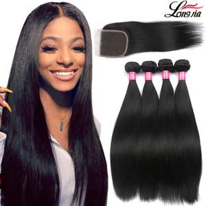 8A droites faisceaux de cheveux avec fermeture Vierge cheveux brésiliens avec fermeture 4x4 Dentelle Fermeture avec le Brésilien cheveux Weave Bundles