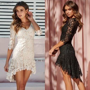 Plus Size Lace Layered Mini Dress Women Lace Floral Short Sleeve Evening Party Dresses Elegant Female Bodycon V Neck Dress
