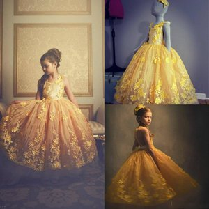 Cute Yellow Flower Girl Dresses Jewel Neck Lace 3D Floral Appliqued A Line Girls Pageant Dress Real Pictures Kids Ball Gown