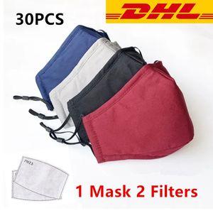 30pcs DHL cotone lavabile Maschera per il viso di lusso panno bocca maschera nera con 2pcs antipolvere PM2.5 Filtri dell'aria tessuto mascherina protettiva riutilizzabile