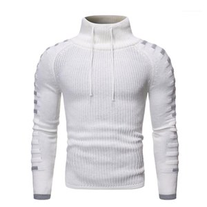Slim Clothes Casual Long Sleeves Mens Clothing Winter Mens Designer Knitted Sweaters Fashion Turtle Neck Panelled