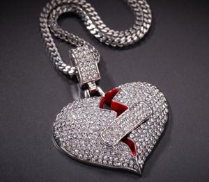 хип-хоп ювелирные изделия с цирконами обледенелые цепочки винтаж высокого класса любовь сердце кулон ожерелье ювелирные изделия с бриллиантами оптом мужские ожерелье