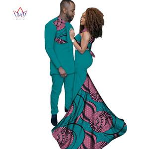 2019 Moda africana Vestidos Vestuário para Suit Mulheres Ankara Estilo Batik Prints Men Lady Vestidos Sexy Casais Roupa WYQ52