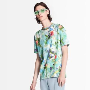 20SS clássico Flores Impresso Catwalk Tee Color Matching Homens Mulheres respirável mangas curtas High Street T-shirt do verão T HFYMTX784