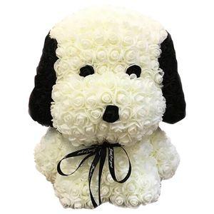 Gül Pug Köpek Yeni Ebedi PE Kabarcık Gül Tanabata Sevgililer Günü El Yapımı Sabun Çiçek PE Çiçek Köpek