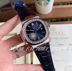 Luxury F Factory 40MM Спорт Элегантный серии 5711 Cal.324 S C автоподзаводом Синий кожаный ремешок Длинные Алмазные ободок Часы наручные Мужские часы