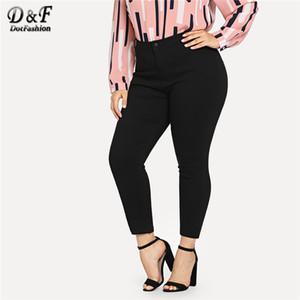 Dotfashion más el tamaño Negro Sólido jeans ajustados tobillo Denim Mujer 2019 otoño pantalones ocasionales de los pantalones más el tamaño de modas Button