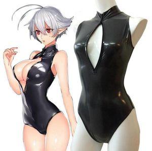 İki boyut Sevimli kardeş açık göğüs mayo yarım bodysuit Catsuit Kostümleri Metalik Lycra spandex Unisex catsuit seksi Tayt