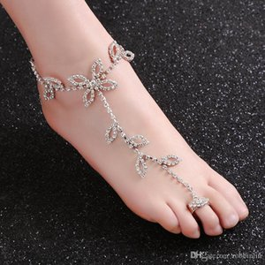 1 Pair Fashion Women Lucky Clover Full Crystals Anklet Barefoot Sandals Beach Foot Chain Jewelry Accessory for Beach Wedding