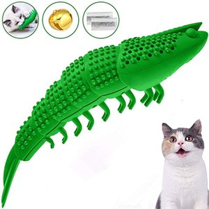 Free DHL 2020 Cats Catnip Toys Interactive Cat Toothbrush Chew Toy for Kitten Kitty Teeth Cleaning Dental Care Crayfish Shape Pet Toy M990F