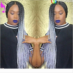 Free shipping Synthetic Lace Front Braids Wigs ombre grey color box braids Heat Resistant Wigs with baby hair for Black Women