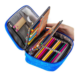 Canvas School Pencil Cases for Girls Boy Pencil Case 72 Holes Pen Box Multi Function Storage Bag Case Pouch school supplies