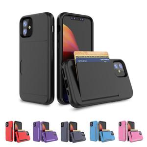 Coque pour iPhone 11/11 PRO / 11 PRO Max Back Case Dual Couche TPU + PC Hybride Slot Slot Slot Slot Slot pour iPhone 78 6 Plus Couvercle