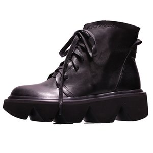 VALLU 2019 autumn and winter new leather thick bottom leather short boots women casual round head boots
