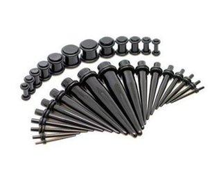 Piercing perno orecchini espansione 18 del vestito resina acrilica UV nera espansione cono appuntito buco orecchio padiglione auricolare allargamento