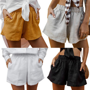Mid Waist Elastic Waist Regular Shorts Women Loose Pure Color Shorts Womens Designer Linen Shorts with Pockets
