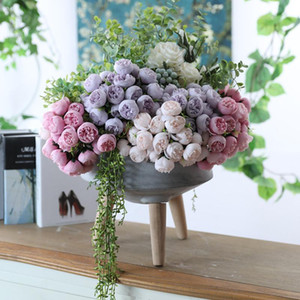 Soie Artificielle 27 Têtes Thé Rose Bouquet De Fleurs Maison Hôtel Table Décoration Faux Fleur De Mariée Tenant Un Bouquet Floral