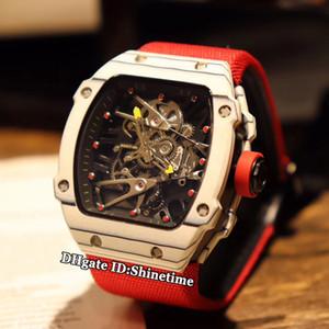 Migliore versione RM27-02 scheletro quadrante in fibra di carbonio bianco Caso Giappone Miyota automatico RM 27-02 Mens Watch nylon arancione Cinturino Orologi sportivi
