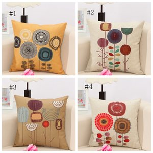 Fundas de almohada flor de la historieta de banda Cubiertas almohadilla del amortiguador de la caja del sofá de lino con cierre de cremallera Decoración 4 diseños DSL-YW3085