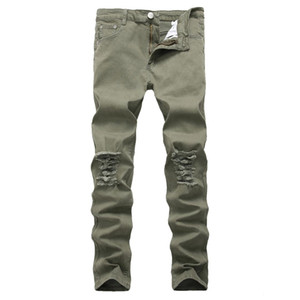 Motorcycle high street hip hop hole jeans Destroyed men Jeans Slim Mens Biker stretch Demin Trousers Army green size 42