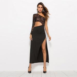Abbigliamento da donna sexy in pizzo nero Abbigliamento senza maniche Una spalla split Joint a due spacchetti in mesh senza maniche
