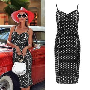 Onda Ponto de impressão Womens Designer Casual Vestidos Moda Spaghetti Strap Divisão Painéis Womens BODYCON Casual Vestidos fêmeas roupa