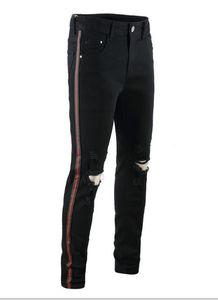 Calças dos homens Jeans Buracos Black Street Red Ribbon Hiphop Mens Jeans Moda Mens lápis