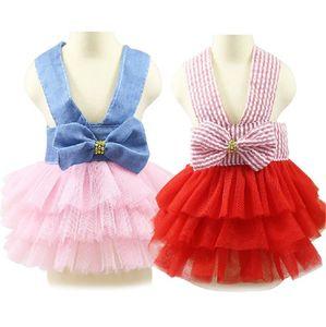 Vestido de verão para Dog Pet roupas para cachorros Wedding Dress Saia Vestuário filhote de cachorro Spring Fashion Jean roupas para cães XS-L