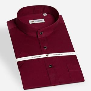 Verano 2016 de los hombres del collar con banda (cuello Mao) Camisa de vestir 100% algodón no de hierro sólido de color compacto y ligero-fit camisas formales