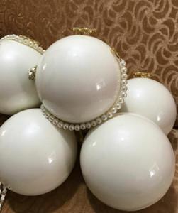 Marke Kupplung Geldbeutel weiße Perlenkugelform Handtasche Luxus-VIP-Geschenkbeutel Berühmte weibliche Designer Schultertaschen der eleganten Dame-runde Kugel-Parteibeutel