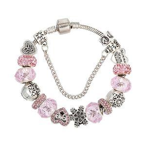 Charm Beads Bracelets Fashion fit Pandora DIY pink crystal butterfly beads bracelets for women love snow charm bracelet jewelry Wedding gift