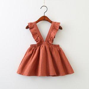 طفل جديد الفتيات شريط حمالة فستان 2020 ربيع الخريف الأطفال الكشكشة حزام فستان بوتيك أزياء الأطفال ملابس 2 الألوان C175