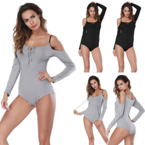 Mulheres Ladies Verão magro Alças Bodysuits Magro Corte Neck Side Lace Up Bodysuits Sexy Sólidos manga comprida Bodysuits