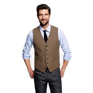 2020 Çiftlik Düğün Vintage Kahverengi Tweed yelekler özel erkekler için Damat yelek erkek ince uygun terzi düğün yelek yapımı