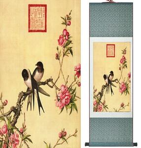 Langshining Mürekkep Boyama Kuşlar Ve Çiçek Boyama Bahar Mürekkep çin resim