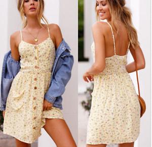Femmes Lady été Boho Midi Robe sans manches fines bretelles V Neck Beach Party robes taille haute Sundress