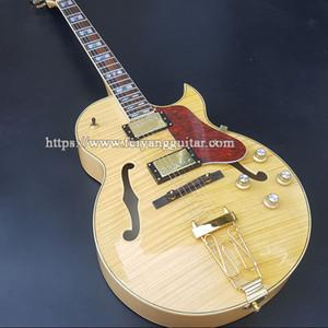 Chitarra elettrica jazz personalizzata più recente di alta qualità, fissazione della corda di tiro di fissaggio e raccordi in oro, chitarra ad Archtop body body semi