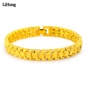 Fashion 24K Gold Color Flower Bracelet Beautiful Lady Classic Exquisite Jewelry Gift Free Shipping