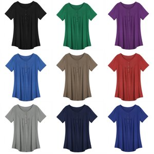 Women round neck short sleeve T shirt pleated button loose vest top