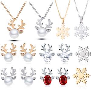 Pendiente del collar de la decoración de Navidad del reno del oído del perno prisionero colgante decoraciones de Navidad para el hogar 2019 Navidad regalo de Navidad del ornamento