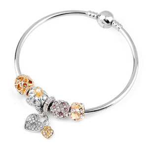 Charm Beads Bracelets Diamond Heart Colgante del brazalete Charm Pandora Gold Bead como regalo Diy Joyería con logotipo